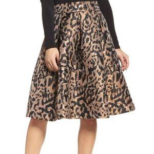 Eliza J Leopard Print Metallic A Line Full Skirt 4